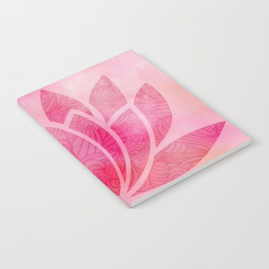 Zen Watercolor Lotus Flower Yoga Symbol Notebook