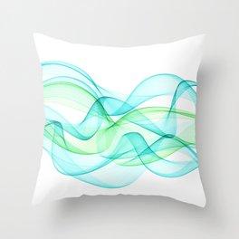 Sea Wave Pattern Abstract Aqua Blue Green Waves Throw Pillow