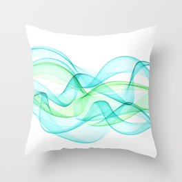 Sea Wave Pattern Abstract Aqua Blue Green Waves Throw Pillow