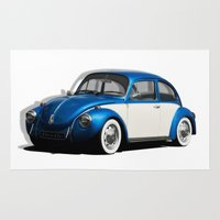 volkswagen Area & Throw Rugs featuring Volkswagen Beetle by cjsphotos