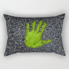Carbon handprint / 3D render of modern city with handprint shaped park Rectangular Pillow