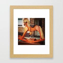 Vintage Rocking Horse in Seattle Framed Art Print