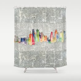 Watercolor skyline Shower Curtain
