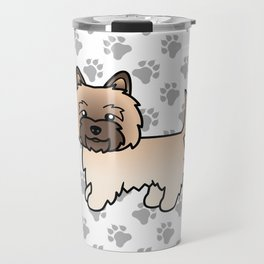 Cute Wheaten Cairn Terrier Dog Cartoon Illustration Travel Mug