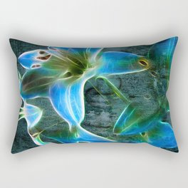 Lily Blue Rectangular Pillow