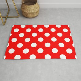 Red - White Polka Dots - Pois Pattern Rug
