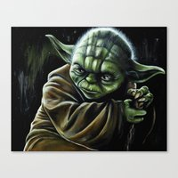 jedi Canvas Prints featuring Jedi Master by Pinked n Inked