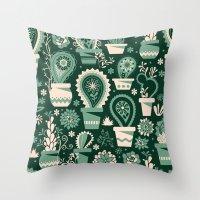 Paisley succulents Throw Pillow