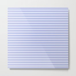 Small Horizontal Cobalt Blue and White French Mattress Ticking Stripes Metal Print