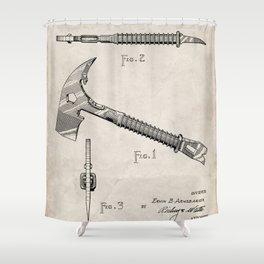 Firemans Axe Patent - Fire Fighter Art - Antique Shower Curtain