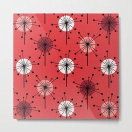 Atomic Era Sputnik Starburst Flowers Red Metal Print