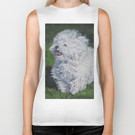 Bichon Bolognese dog art from an original painting by L.A.Shepard Biker Tank