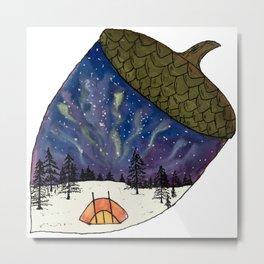 Camping under Aurora Borealis in a Nutshell Metal Print