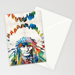 Native American Art - Chief - By Sharon Cummings Stationery Cards