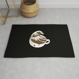 The Great Wave off Coffee Rug
