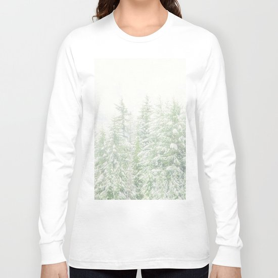 White Winter Forest with a Hint of Mint Long Sleeve T-shirt