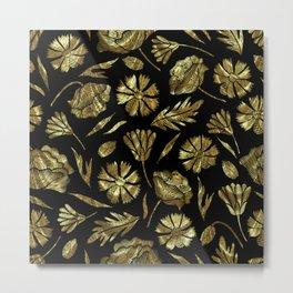 Gold foil look flowers pattern on black Metal Print