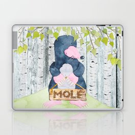 The busy Mole - Woodland Friends- Watercolor Illustration Laptop & iPad Skin