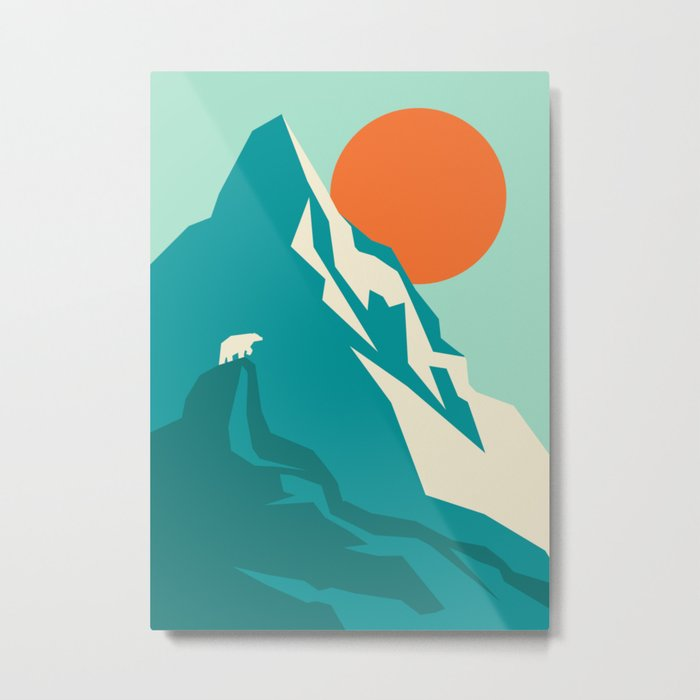 As the sun rises over the peak Metal Print