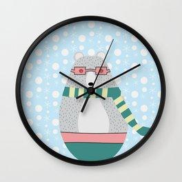 Bear in snow Wall Clock