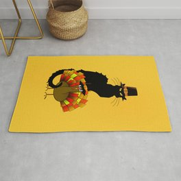 Thanksgiving Le Chat Noir With Turkey Pilgrim Rug