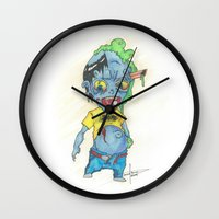 magic the gathering Wall Clocks featuring Zombie Token - Magic the Gathering by Deadlance