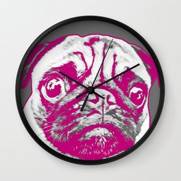 Sweet pug in pink and gray. Pop art style portrait. Wall Clock