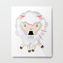 Funny Chibi Sheep Metal Print