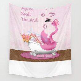Flamingo Enjoying the Bath Wall Tapestry