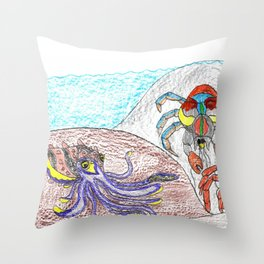 Cuttlefish & Coconut Crabs Throw Pillow