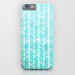Handpainted Chevron pattern - small - light green and aqua teal iPhone Case