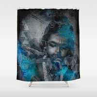 hindu Shower Curtains featuring Krishna The mischievous one - The Hindu God by sarvesh