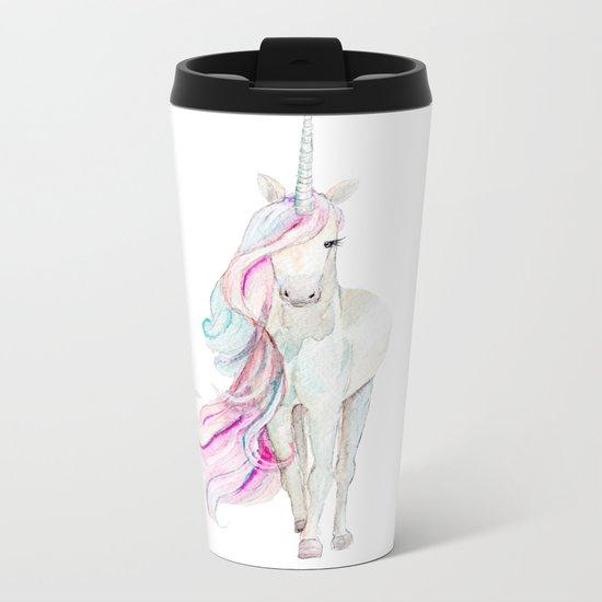 Watercolor Unicorn Metal Travel Mug