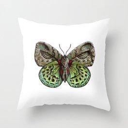 Green steampunk butterfly Throw Pillow