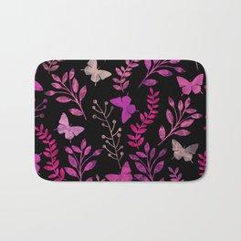 Watercolor flowers & butterflies III Bath Mat