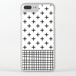 Crosses, Criss Cross, Black and White Modern Clear iPhone Case