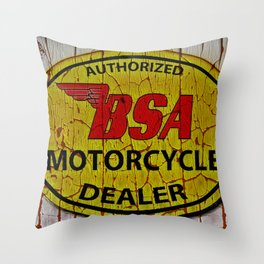 Vintage Painted  Motorcycle Sign Throw Pillow