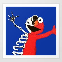 elmo Art Prints featuring elmo by Robyn Alatorre