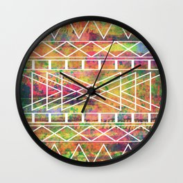 Aztec Andes Tribal, Geometric Shapes Pattern, Itaya Wall Clock