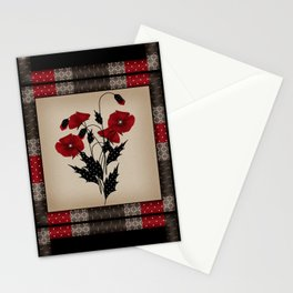 Flowers Art Poppies. Patchwork Stationery Cards
