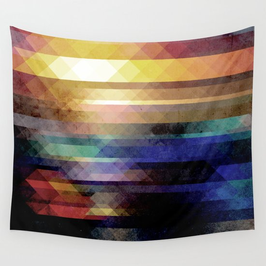 Abstract Geometry of Colors Wall Tapestry