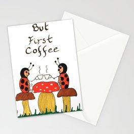 Coffe time ladybugs Stationery Cards