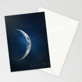 The moon is friend for the lonesome to talk to. Stationery Cards