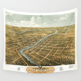 Bird's Eye View of Fort Atkinson, Wisconsin (1870) Wall Tapestry