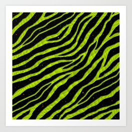 Ripped SpaceTime Stripes - Lime Yellow Art Print
