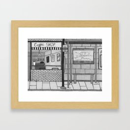 London Coffee Shop in Black and White Framed Art Print