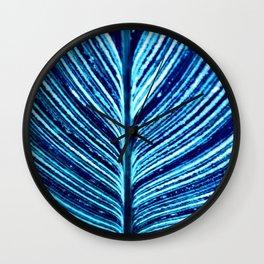 Feather Leaf in Blue Wall Clock