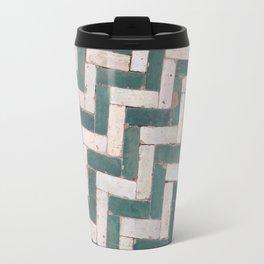 Moroccan floor tiles in green and white chevron Travel Mug