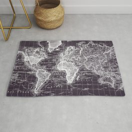 Vintage Map of The World (1833) Purple & White  Rug