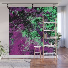 Colour Interaction II - Abstract purple, green and black textured, mixed media art Wall Mural
